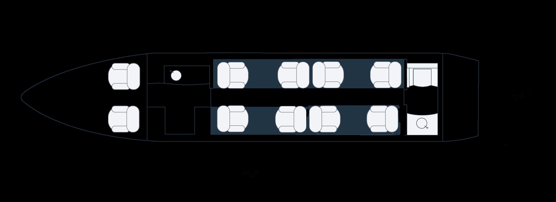 Grundriss eines BOMBARDIER Challenger 300 Privatjets