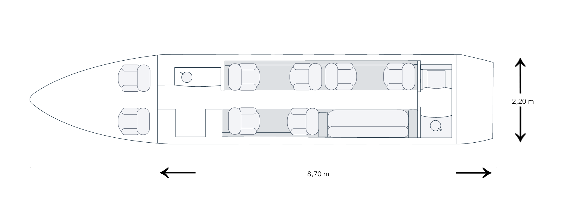 Grundriss eines BOMBARDIER Challenger 300 D-BUBI Privatjets