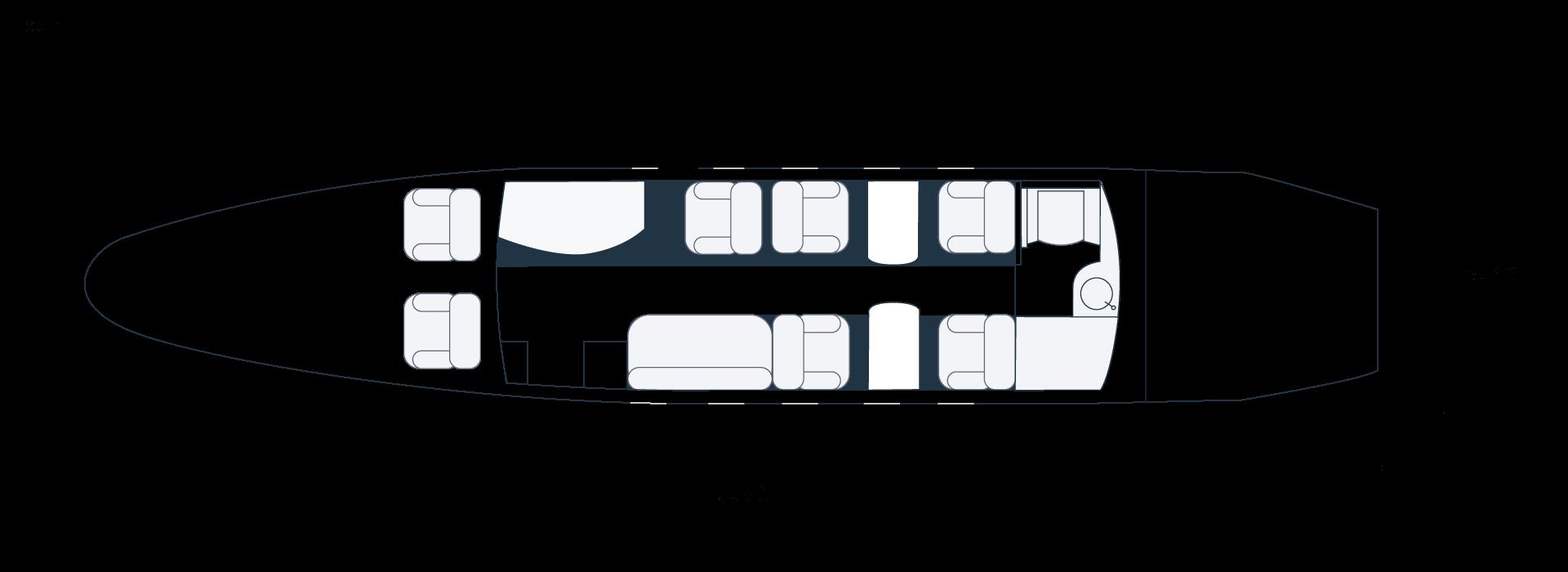 Grundriss eines Gulfstream G150 Privatjets