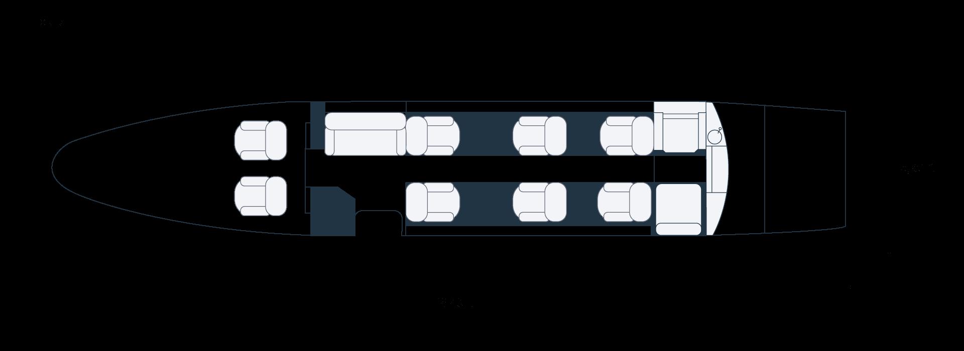Grundriss eines Cessna Citation XLS D-CKHG Privatjets