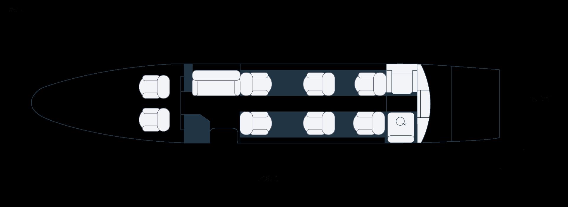 Grundriss eines Embraer Phenom 300 Privatjets